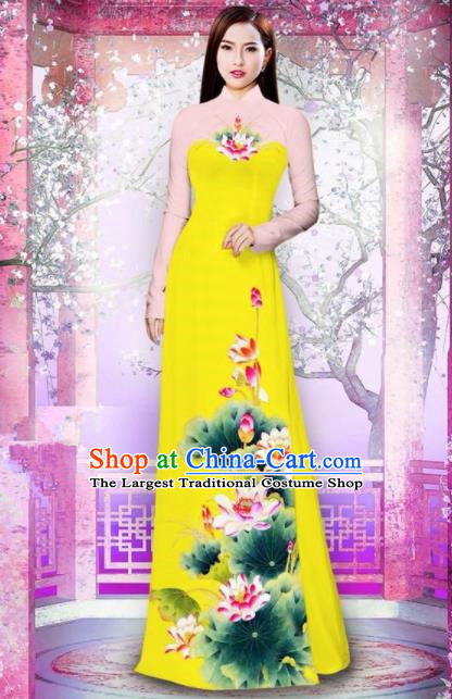 Vietnam Traditional National Printing Lotus Yellow Ao Dai Dress Asian Vietnamese Cheongsam for Women