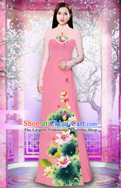 Vietnam Traditional National Printing Lotus Pink Ao Dai Dress Asian Vietnamese Cheongsam for Women