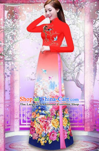 Vietnam Traditional National Printing Peony Red Ao Dai Dress Asian Vietnamese Cheongsam for Women