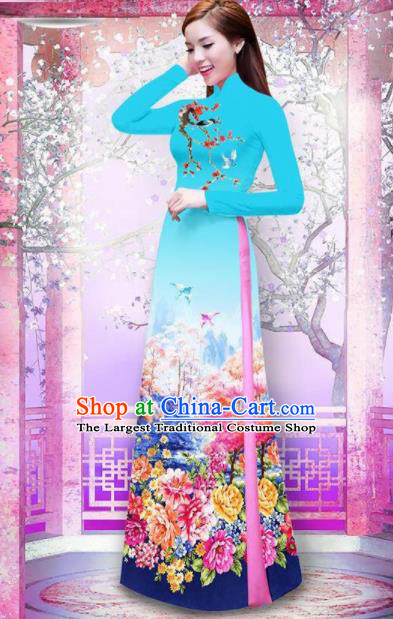 Vietnam Traditional National Printing Peony Blue Ao Dai Dress Asian Vietnamese Cheongsam for Women