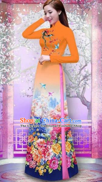 Vietnam Traditional National Printing Peony Orange Ao Dai Dress Asian Vietnamese Cheongsam for Women