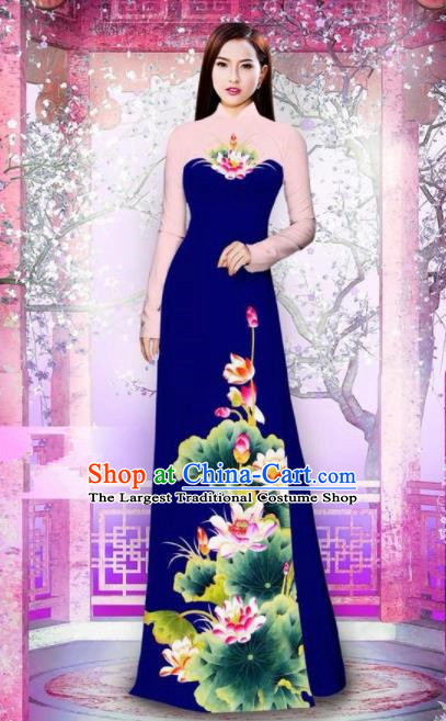 Vietnam Traditional National Printing Lotus Royalblue Ao Dai Dress Asian Vietnamese Cheongsam for Women