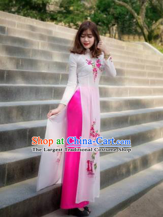 Vietnam Traditional National Wedding White Ao Dai Dress Asian Vietnamese Cheongsam for Women