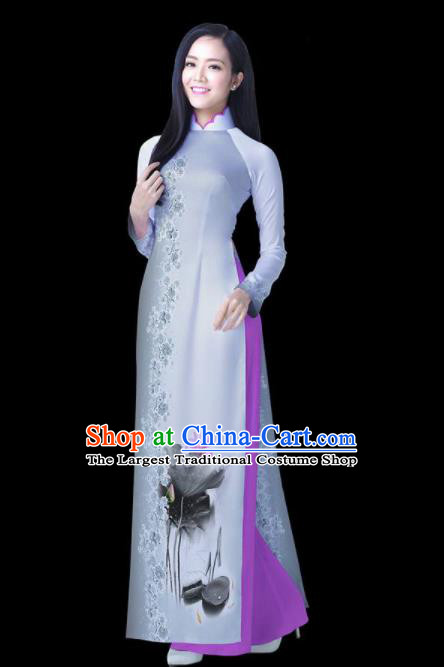 Vietnam Traditional National Ink Painting Lotus Ao Dai Dress Asian Vietnamese Cheongsam for Women
