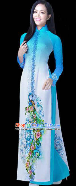 Vietnam Traditional National Blue Ao Dai Dress Asian Vietnamese Cheongsam for Women