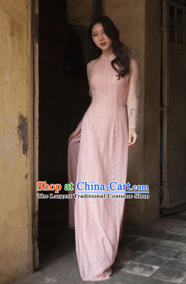 Vietnam Traditional National Pink Lace Ao Dai Dress Asian Vietnamese Cheongsam for Women