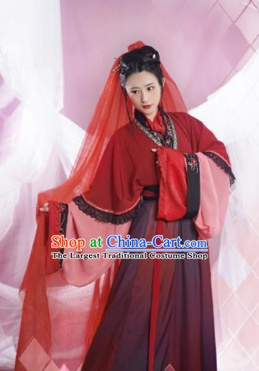 Chinese Ancient Jin Dynasty Princess Red Dress Traditional Hanfu Clothing Palace Lady Historical Costume for Women