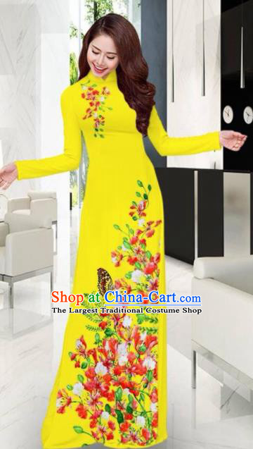 Vietnam Traditional National Printing Flowers Butterfly Yellow Ao Dai Dress Asian Vietnamese Cheongsam for Women