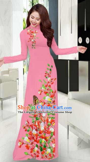 Vietnam Traditional National Printing Flowers Butterfly Pink Ao Dai Dress Asian Vietnamese Cheongsam for Women