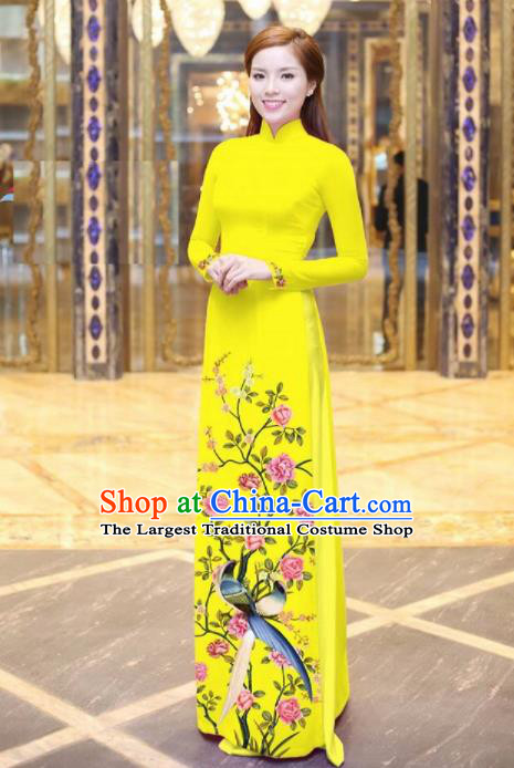 Vietnam Traditional National Printing Peony Birds Yellow Ao Dai Dress Asian Vietnamese Cheongsam for Women