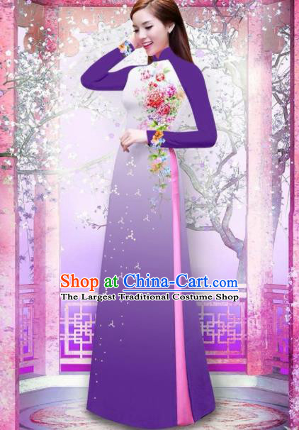 Vietnam Traditional National Printing Rose Flowers Purple Ao Dai Dress Asian Vietnamese Cheongsam for Women