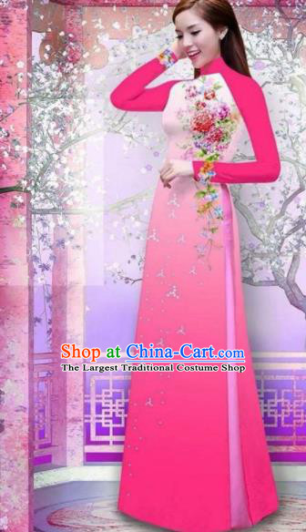 Vietnam Traditional National Printing Rose Flowers Rosy Ao Dai Dress Asian Vietnamese Cheongsam for Women