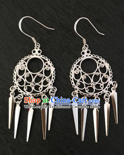 Chinese Traditional Mongol Nationality Carving Tassel Earrings Mongolian Ethnic Ear Accessories for Women