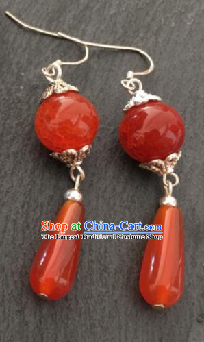 Chinese Traditional Mongol Nationality Red Agate Earrings Mongolian Ethnic Ear Accessories for Women