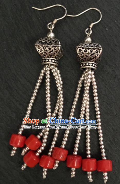 Chinese Traditional Mongol Nationality Red Earrings Mongolian Ethnic Sliver Ear Accessories for Women