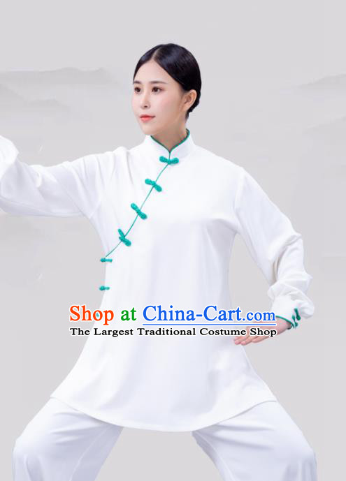 Traditional Chinese Martial Arts Competition White Costume Tai Ji Kung Fu Training Clothing for Women