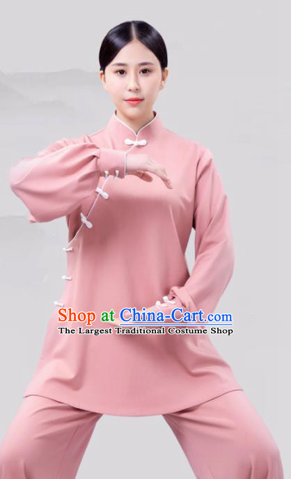 Traditional Chinese Martial Arts Competition Pink Costume Tai Ji Kung Fu Training Clothing for Women