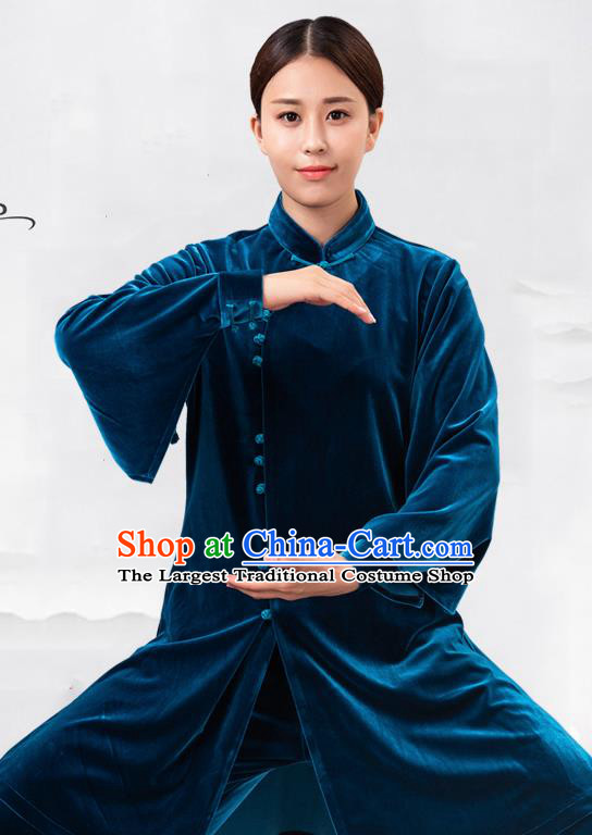 Traditional Chinese Martial Arts Competition Blue Velvet Costume Tai Ji Kung Fu Training Clothing for Women