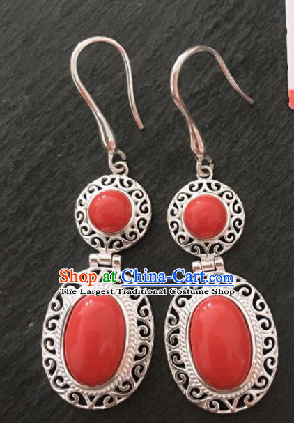 Chinese Traditional Mongol Nationality Coral Stone Earrings Mongolian Ethnic Sliver Ear Accessories for Women