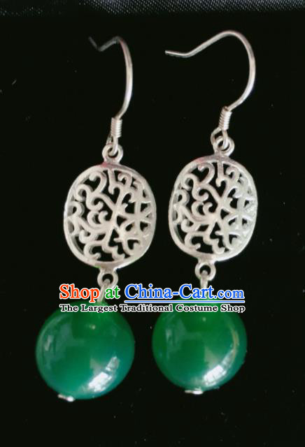 Chinese Traditional Mongol Nationality Green Bead Earrings Mongolian Ethnic Sliver Ear Accessories for Women
