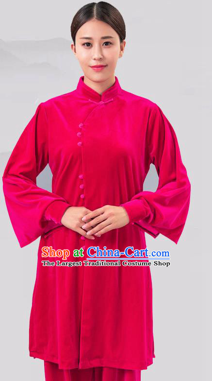 Traditional Chinese Martial Arts Competition Rosy Velvet Costume Tai Ji Kung Fu Training Clothing for Women