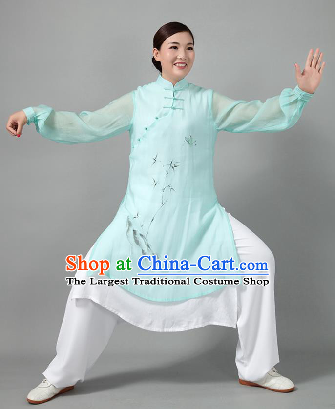Traditional Chinese Martial Arts Printing Bamboo Green Costume Tai Ji Kung Fu Competition Clothing for Women