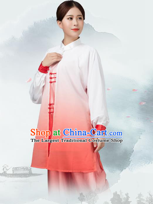 Traditional Chinese Martial Arts Rosy Silk Costume Tai Ji Kung Fu Competition Clothing for Women