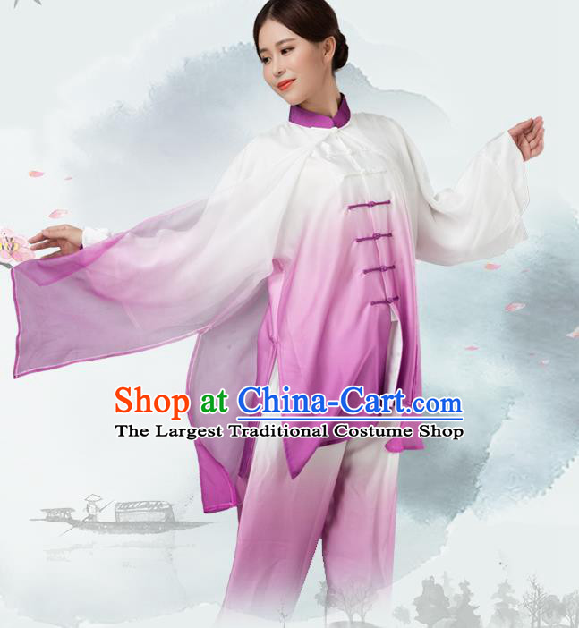 Traditional Chinese Martial Arts Purple Silk Costume Tai Ji Kung Fu Competition Clothing for Women