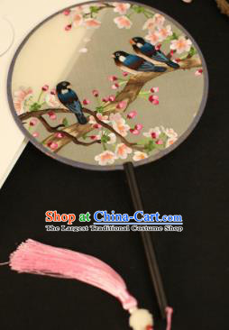 Chinese Traditional Embroidered Peach Blossom Round Fans Classical Hanfu Palace Fans for Women