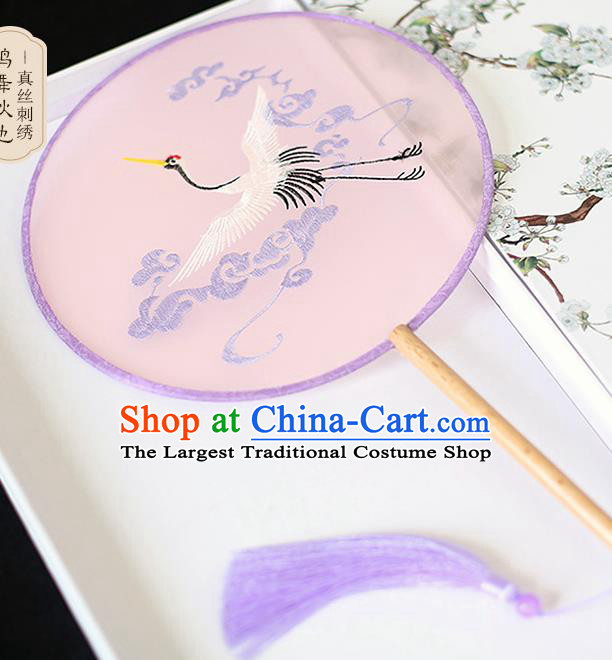 Chinese Traditional Embroidered Crane Pink Round Fans Classical Hanfu Palace Fans for Women