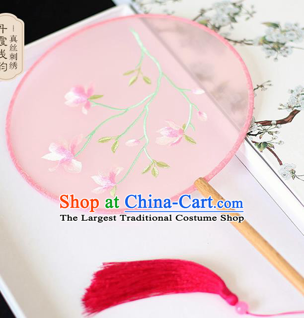 Chinese Traditional Embroidered Yulan Magnolia Pink Round Fans Classical Hanfu Palace Fans for Women