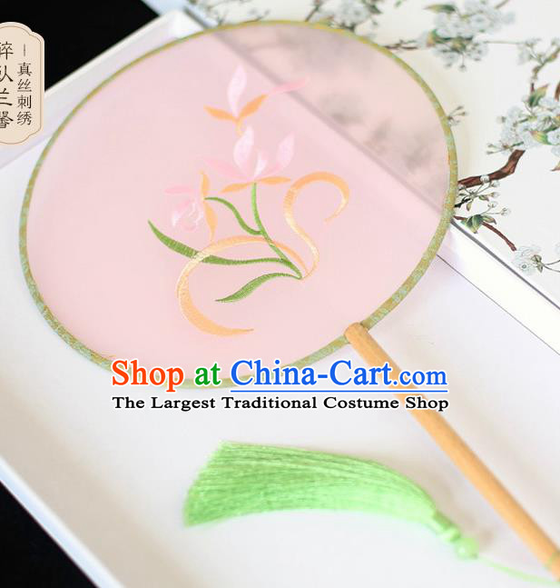 Chinese Traditional Embroidered Orchid Pink Silk Round Fans Classical Hanfu Palace Fans for Women