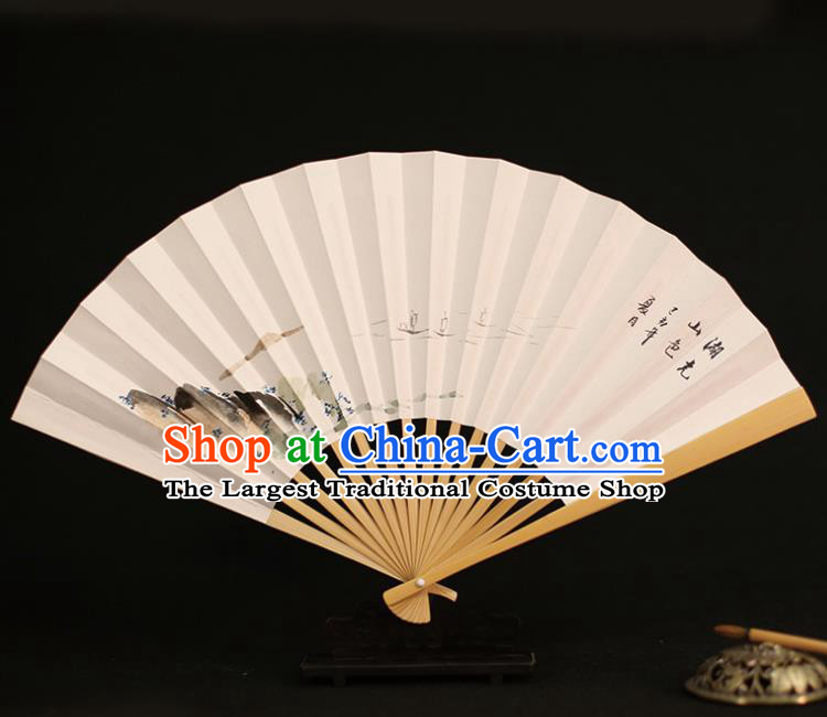 Chinese Traditional Ink Painting Landscape Paper Folding Fans Classical Accordion Handmade Fans for Women