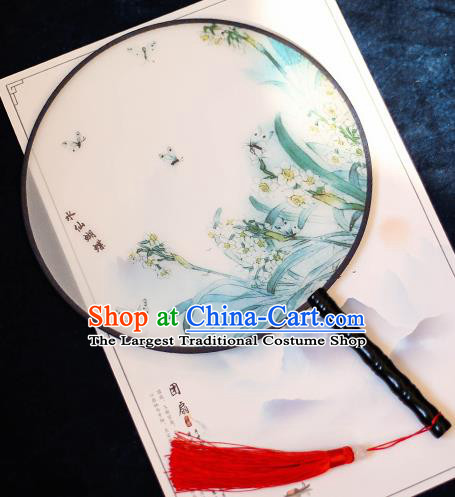 Chinese Traditional Printing Daffodil Silk Round Fans Handmade Classical Palace Fans for Women