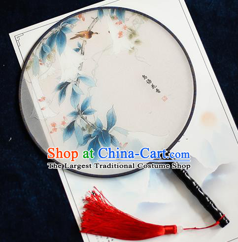Chinese Traditional Printing Bird Flower Silk Round Fans Handmade Classical Palace Fans for Women