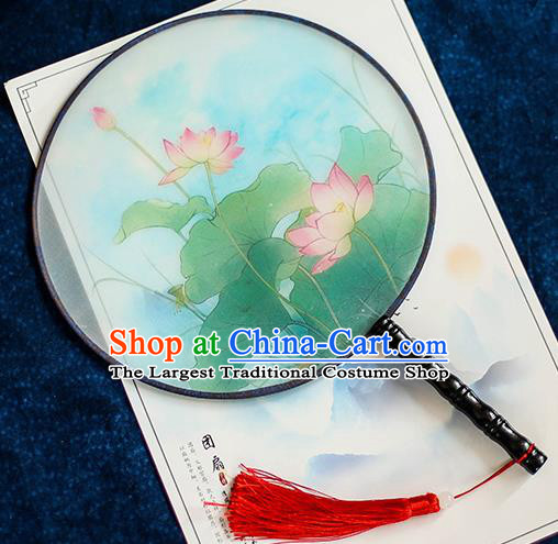 Chinese Traditional Printing Lotus Silk Round Fans Handmade Classical Palace Fans for Women