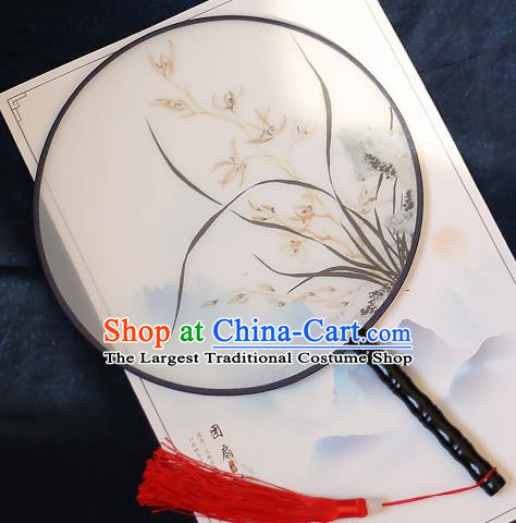 Chinese Traditional Printing Orchid Silk Round Fans Handmade Classical Palace Fans for Women