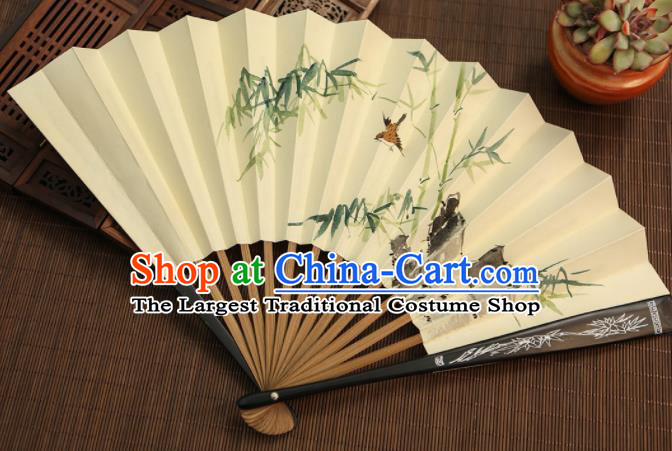 Chinese Traditional Handmade Ink Painting Bamboo Paper Fans Classical Accordion Folding Fans for Women