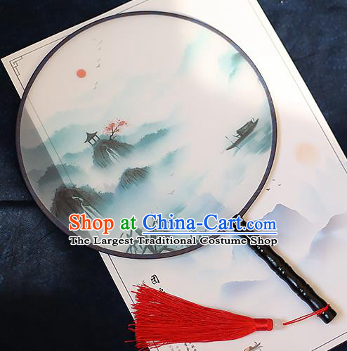Chinese Traditional Printing Pavilion Silk Round Fans Handmade Classical Palace Fans for Women