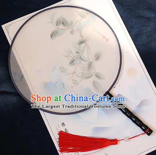 Chinese Traditional Printing Silk Round Fans Handmade Classical Palace Fans for Women