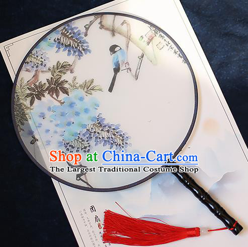 Chinese Traditional Printing Wisteria Silk Round Fans Handmade Classical Palace Fans for Women