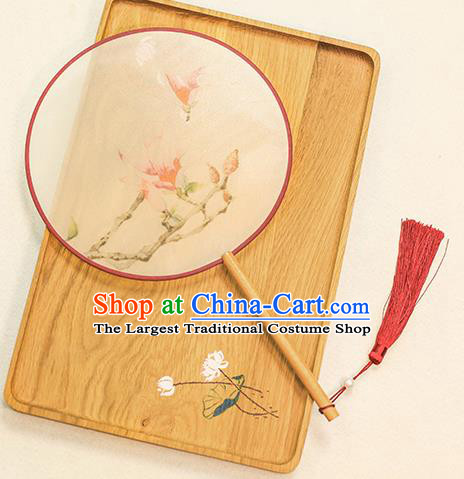 Chinese Traditional Printing Yulan Magnolia Dance Silk Round Fans Handmade Classical Palace Fans for Women