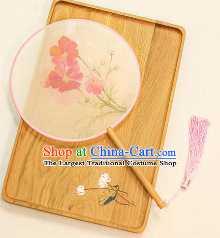 Chinese Traditional Printing Flowers Dance Silk Round Fans Handmade Classical Palace Fans for Women