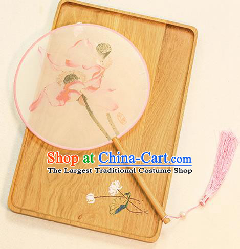 Chinese Traditional Printing Lotus Flowers Dance Silk Round Fans Handmade Classical Palace Fans for Women