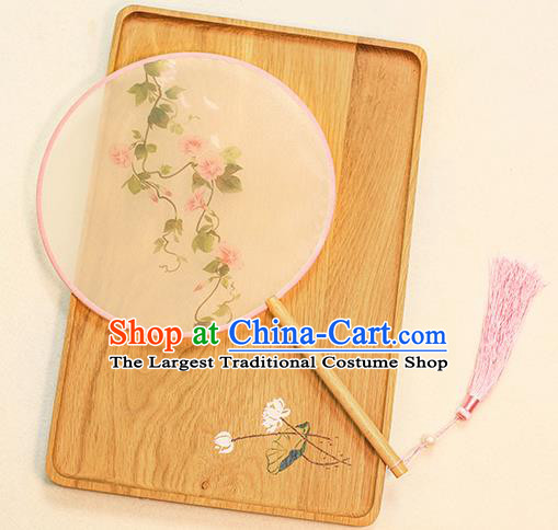 Chinese Traditional Printing Petunia Dance Silk Round Fans Handmade Classical Palace Fans for Women