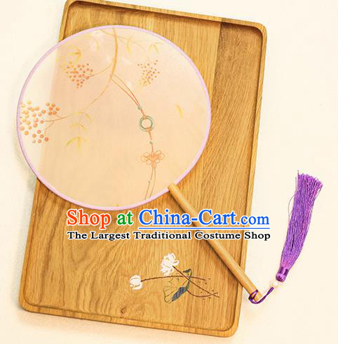 Chinese Traditional Printing Jade Knot Dance Silk Round Fans Handmade Classical Palace Fans for Women