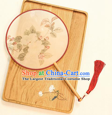 Chinese Traditional Printing Camellia Dance Silk Round Fans Handmade Classical Palace Fans for Women