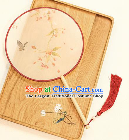 Chinese Traditional Printing Dance Silk Round Fans Handmade Classical Palace Fans for Women