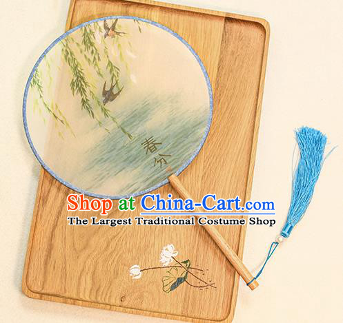 Chinese Traditional Printing Willow Dance Silk Round Fans Handmade Classical Palace Fans for Women