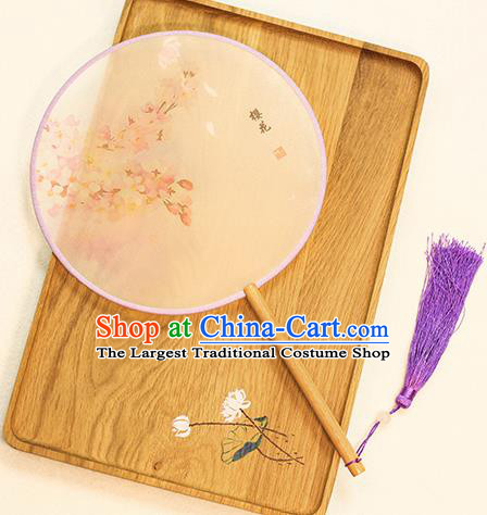 Chinese Traditional Printing Sakura Dance Silk Round Fans Handmade Classical Palace Fans for Women